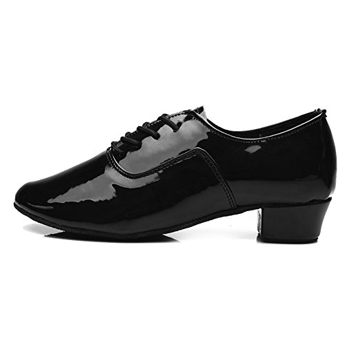 HROYL Bloch Mens Standard Latin/Jazz Dance Shoes Leather Lace-up Ballroom W-701 Black f87eFb9fH9