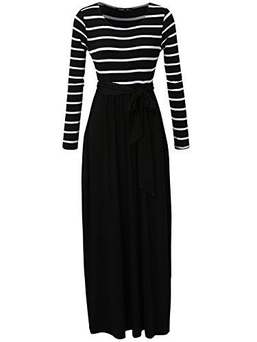 Body 2 Mirror Pockets (JayJay Women Stripe Print Long Sleeve U-Neck Tie Waist Maxi Casual Dress With Pocket,Black,2XL)
