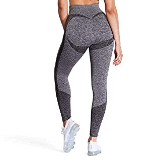 Aoxjox Women's High Waist Workout Gym 7/8 Motion Seamless Leggings Yoga Pants (Charcoal Grey Marl, X-Small)