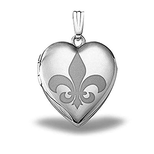 (PicturesOnGold.com Sterling Silver Sweetheart Fleur De Lis Heart Locket - 3/4 Inch X 3/4 Inch with Engraving)