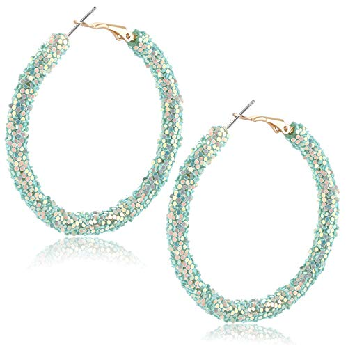 Urwomin Rhinestone Hoop Earrings for Women Handmade Bohemian Glitter Wrapped Hoop Dangle Earring Circular Shiny Sequins Beach Earrings (Green) ()