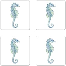 Animal Coaster Set of Four by Lunarable, Profile Picture of a Seahorse in Paintbrush Watercolor Style with Haze Effects, Square Hardboard Gloss Coasters for Drinks, Pale Blue Green