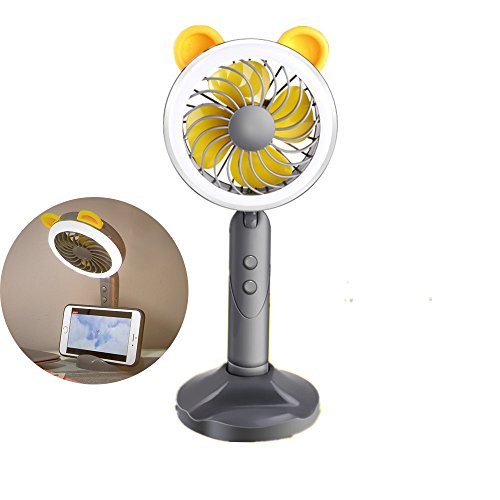 Trrut Multifunction Creativity Mini Handheld Portable USB Rechargeable Powered Fan with Mobile Phone Holder Base Table Lights, 1200mAh Battery Adjustable 2 Speeds for Classroom Offices Outdoor Travel