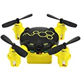 Cinhent Quadcopter FQ04 Beetle Mini Pocket Drone With 0.3MP Camera Headless Mode Toy RTF 4 Channels LED Lights Electric RC Airplanes (Yellow)