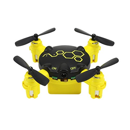 Cinhent Quadcopter FQ04 Beetle Mini Pocket Drone With 0.3MP Camera Headless Mode Toy RTF 4 Channels LED Lights Electric RC Airplanes (Yellow) by Cinhent Quadcopter