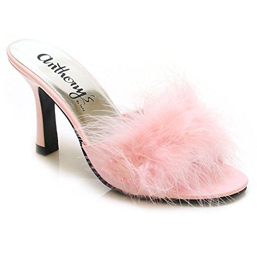 Marilyn-3 Piuma Di Pelliccia Maribou Slip-on 3 Sandalo Dormiente Rosa