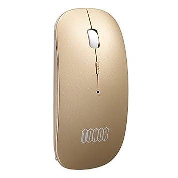 Tonor Bluetooth Recargable Mudo Inalámbrico Ratón- Super Delgado Más Nuevo Versión, Silencio ratón Compatible con Win 7/8/Vista/Mac/Android. (Oro)