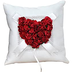 Wedding Ring Pillow Wedding Ring Cushion Ring Bearer Pillow,Red & White,7.8 7.8 inch