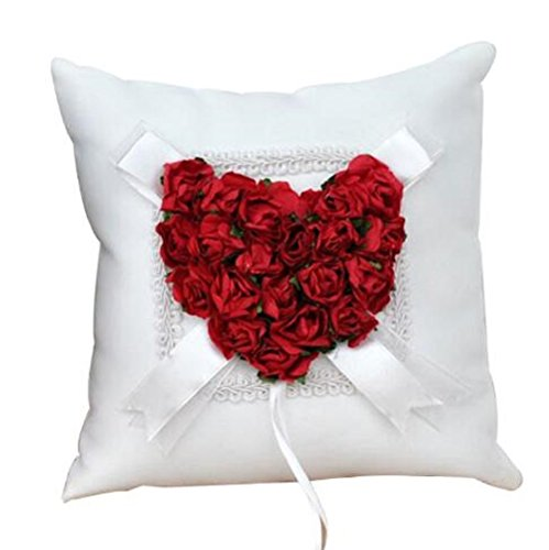 (Wedding Ring Pillow Wedding Ring Cushion Ring Bearer Pillow,Red & White,7.8 7.8 inch)