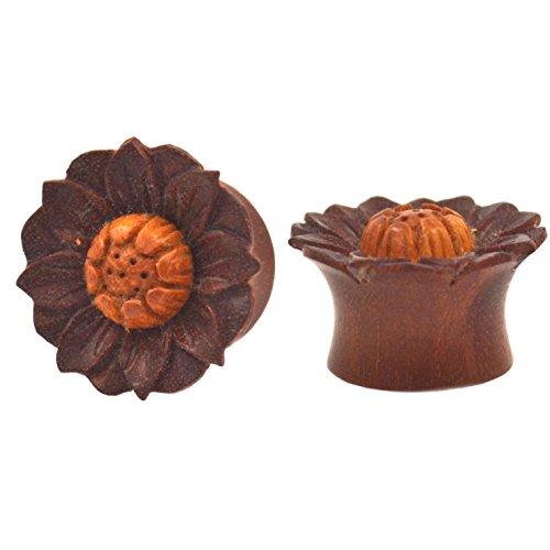 Pair (2) Exotic Sawo Wood Saddle Plugs w/Jackfruit Lotus Flower Design Ear Gauges- 5/8