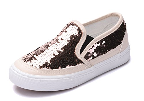 iDuoDuo Girl's Cute Sequins Low Top Casual Loafers Princess Party Sneakers Gold 13 M US Little Kid