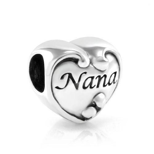 925 Sterling Silver I Love You Nana Heart Bead Charm Fit Major Brand Bracelet