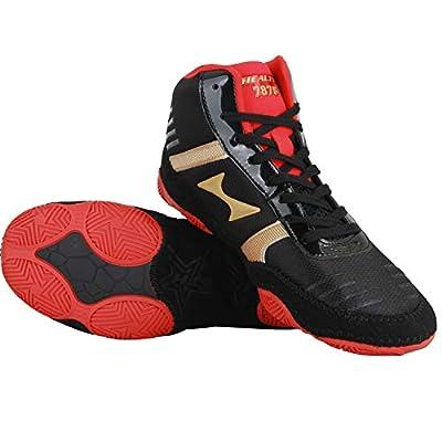 HEALTH Kids Women's Men's Wrestling Shoes Breathable Lightweight Sporting Shoes Black & Red 7878 | Wrestling