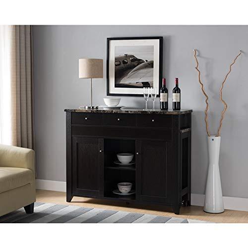 Benzara BM179694 Wooden Buffet with Marble Top, -