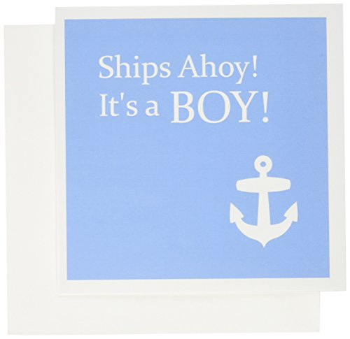 3dRose Ships Ahoy Its a Boy - for Baby showers - light powder blue with white anchor - Greeting Cards, 6 x 6 inches, set of 12 (gc_151388_2) -