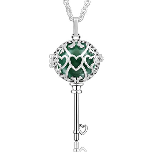 (AEONSLOVE Silver Plated Key to My Heart Women Chain Harmony Ball Love Symbol Pendant Necklace (Green1))