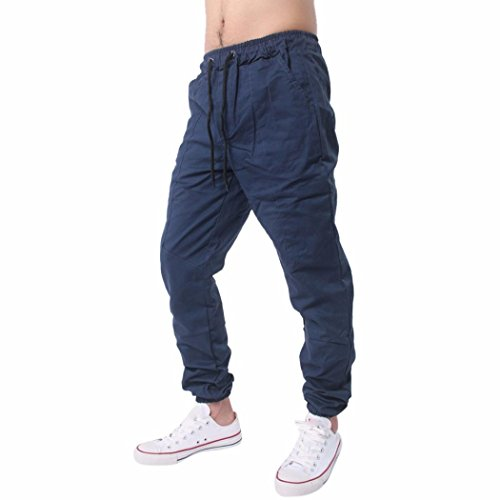 Price comparison product image kaifongfu Men Trousers, Men Harem Sweatpants Slacks Casual Jogger Sportwear Baggy Comfy Pant (XXL, Navy)