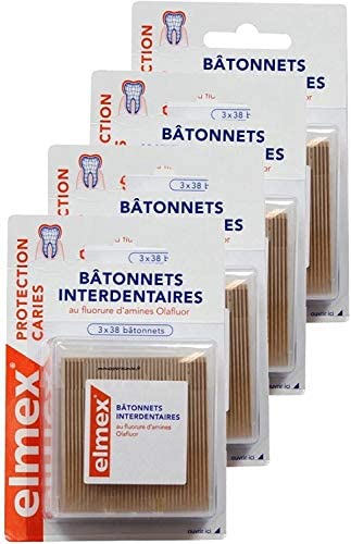 Elmex Kariesschutz Interdentalstäbchen – Packung mit 3 x 38 Stäbchen – 4 Packungen à 3 x 38 Stäbchen (4 Stück)