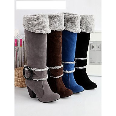 Botas de Mujer Otoño Invierno Comfort polipiel vestir casual tacón cono hebilla caminando Blue