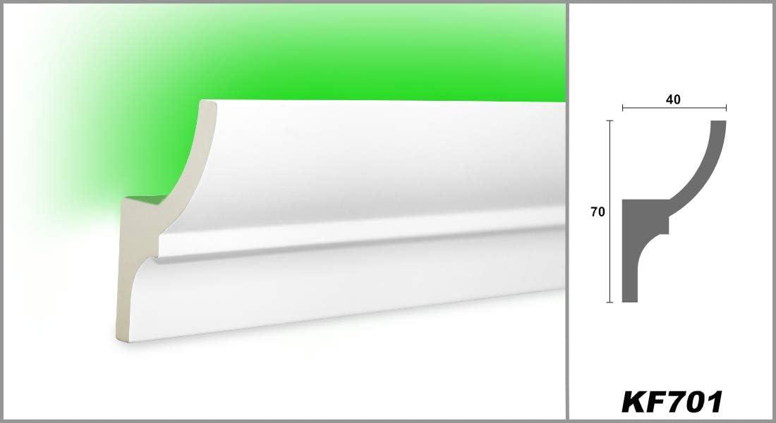 KF701 2 M/ètres PU Profil Coinc/é Moulure en Stuc Lumineuse LED Stuc 70x40mm
