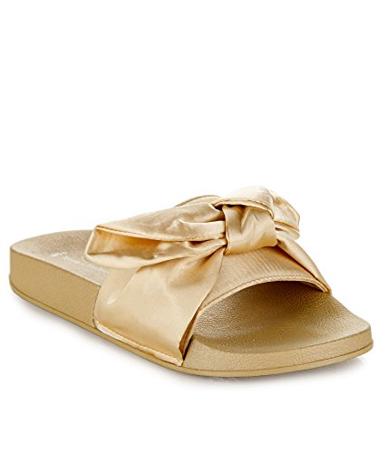 - RF ROOM OF FASHION Women's Fashion Bow Tie Slide-on Sandals - Footbed Slipper Slides - Casual Open Toe Flats Champagne Silk (9)