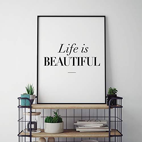 Decoración para el hogar Vida Hermosa Arte de la Lona Cartel ...