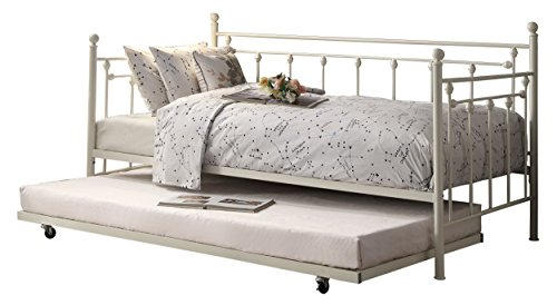 Homelegance 4965W-NT Four Posts Elegant Metal Frame Daybed with Trundle Powder, Coated White Finish
