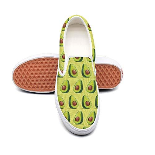 RegiDreae Canvas Slip on Sneakers for Women Cute Avocados Green Fashion ()