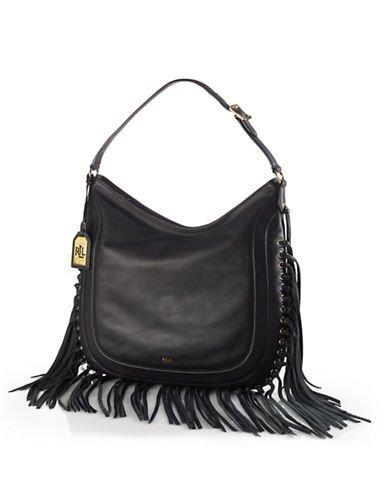 af300fdea02f Amazon.com  Lauren Ralph Lauren Leather Fleetwood Hobo Black Handbag New   Shoes
