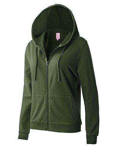 Basic Full Zip Hoody Sweatshirt (REGNA X women's long sleeve with kangaroo pocket full zip hoodie Green M)