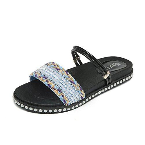 Hunpta Frauen flache Schuhe Crystal Böhmen Ladys Sandalen Peep-Toe Outdoor Freizeitschuhe Blau