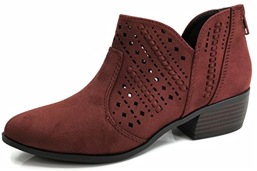 Rust Suede Boot - City Classified Comfort Women's Ankle Bootie Perforated Side V Cut Low Chunky Stacked Heel, Rust, 7