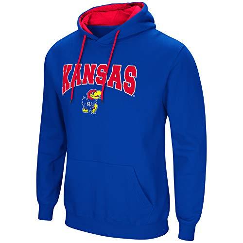 Colosseum NCAA Men's-Cold Streak-Hoody Pullover Sweatshirt with Tackle Twill-Kansas Jayhawks-Blue-Large