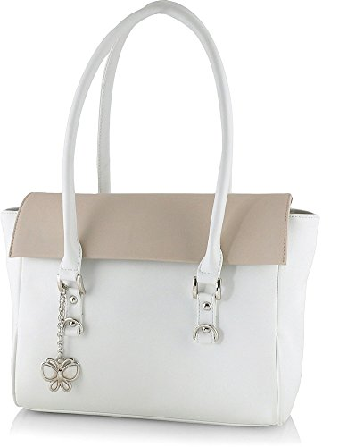 Butterflies Women's Handbag (White) (BNS 0566WH)