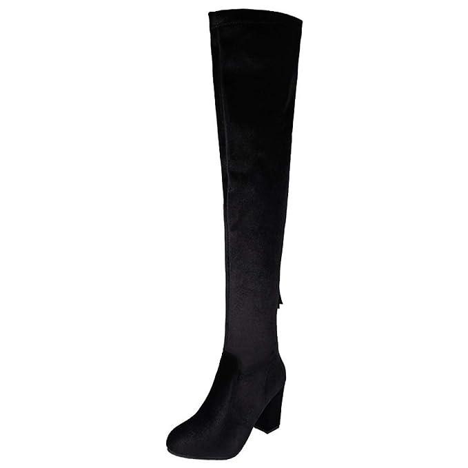 Botas De Mujer Elasticas Tacon Cuadrado Zapatos Botas Altas Sobre La Rodilla Botin: Amazon.es: Ropa y accesorios