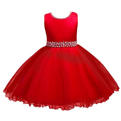 IBTOM CASTLE Kids Baby Girls Rhinestone Ruffle Bridesmaid Wedding Gown Party Short Dress Red 6 - Shiny Red Ball
