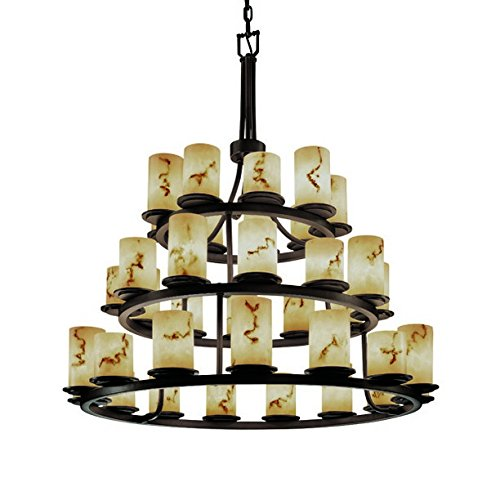 Justice Design Group LumenAria 36-Light Chandelier - Dark Bronze Finish with Faux Alabaster Resin Shade