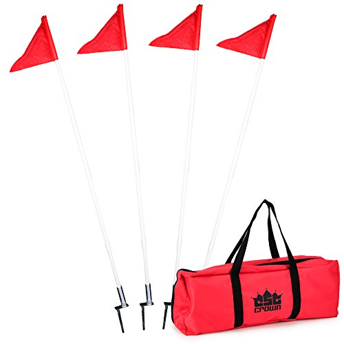 Soccer Corner - 4 Pack of Soccer Corner Flags - Collapsible Spring Loaded Steel Base with Carrying Bag by Crown Sporting Goods