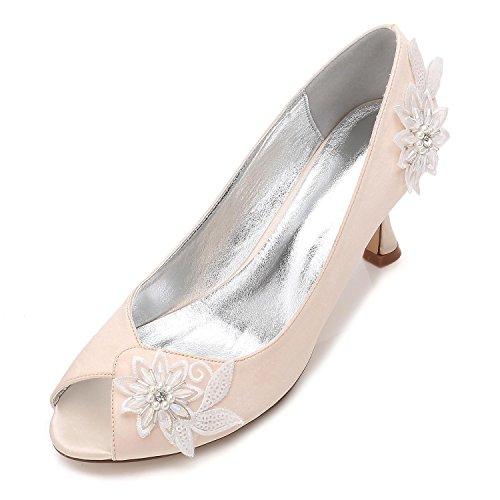 Noche Prom Boda Champagne Plataforma L Para Zapatos Flores Mujer Alto Tacón La Perlas Tamaño Señoras De Nupcial Flor yc Uqxq6Z