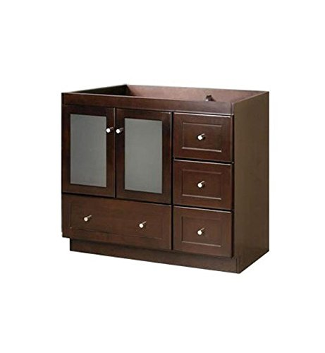 RONBOW Essentials Shaker 30 Inch Bathroom Vanity Cabinet Base in Dark Cherry Finish, with Soft Close Frosted Glass Doors on Left and Full Extension Drawers 081930-1L-H01 ()