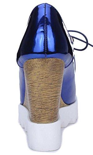 Summerwhisper Scarpe Da Donna Trendy Spuntate Quadrate Con Zeppa E Zeppa Con Tacco Alto Blu