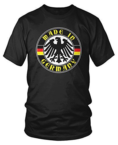 Amdesco Men's Made in Germany, German Eagle and Flags T-Shirt, Black Small