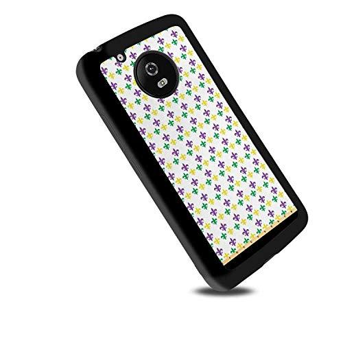 Motorola Moto G5 [5-Inch] Soft Phone Case Mardi Gras Fleur De Lis in Mardi Gras Carnival Colors Ancient Festival Pattern Green Yellow Purple