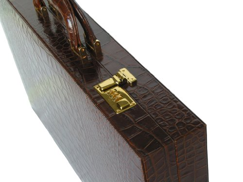"Leather Backgammon Board Set - (23"" Large Attache Case, Zaza & Sacci) - Brown Croco"
