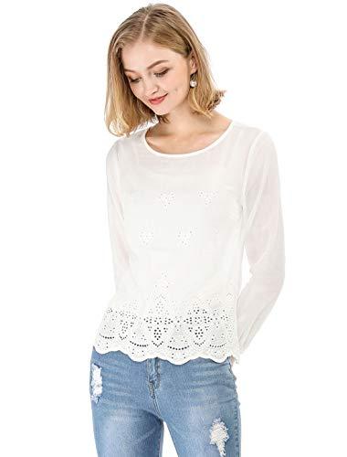 Allegra K Women's Long Sleeves Scalloped Hem Crochet Embroidery Blouse White S US 6