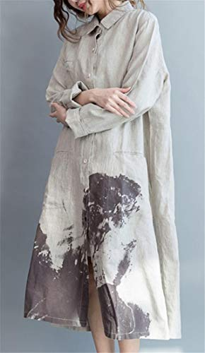 Chinese Long Down Dress Shirt Style Cromoncent Printed Long Linen Women's Leisure Cotton Beige Sleeve Button Hq5zwqY