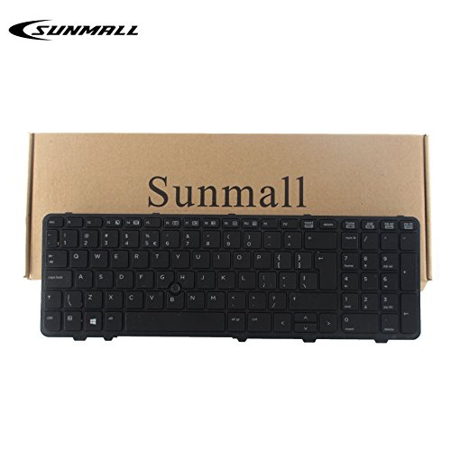 SUNMALL Keyboard Replacement with Frame for hp probook 650 g1 and 655 g1 Black US Layout(6 Months Warranty) by keyboardseller