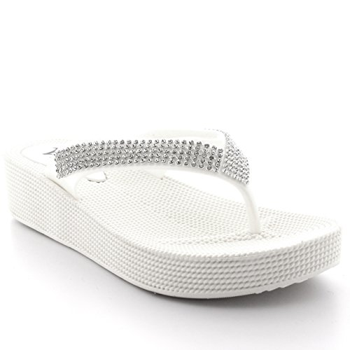 Des Plage Gelée Tongs Compensé Sandales Talon Diamante Blanc Vacances Thong Femmes q1t4wPqpx