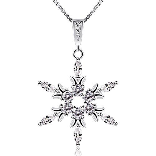 0bcd5ab43 B.Catcher Silver Snowflake Necklace, 925 Sterling Silver Cubic Zirconia  Pendant Necklaces