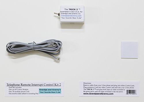 """2-LINE On/Off Switch for Telephone and Any Device connected to a 2-line Phone Jack. The Telephone Remote Interrupt Control Kit 2. The """"TRICK 2"""". Amazon Exclusive!"""